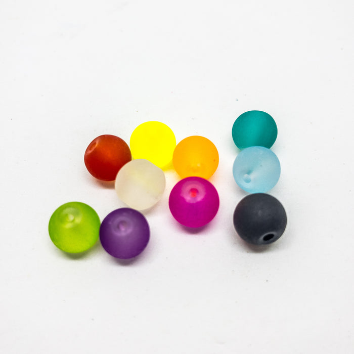 Frosted Glass Beads In Assorted Colours In Organizer. Approx 240 8mm Beads With