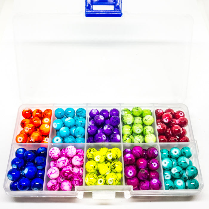 Drawbench Glass Beads In Assorted Colours In Organizer. Approx 240 8mm Beads With 1mm Hole.