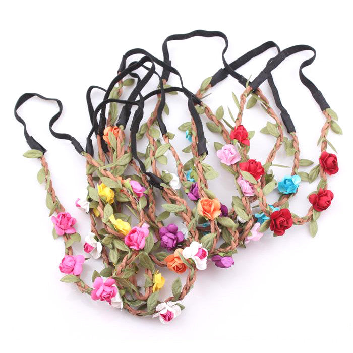 Floral Boho Hippy Glasto Headband With Shimmery Leaves - bigigloo.co.uk