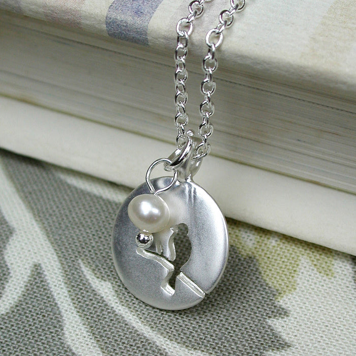 Silver Plated Bird Outline Necklace With Matt Finish And Pearl - bigigloo.co.uk  - 3