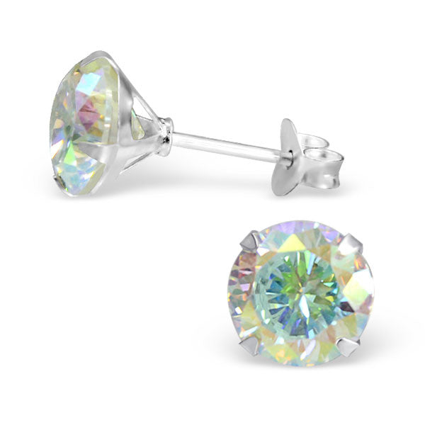 Cubic Zirconia (CZ) 925 Solid Sterling Silver Studs. 3mm, 6mm, 8mm. Clear, AB, Pink, Amethyst Or Garnet - bigigloo.co.uk  - 3