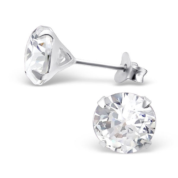 Cubic Zirconia (CZ) 925 Solid Sterling Silver Studs. 3mm, 6mm, 8mm. Clear, AB, Pink, Amethyst Or Garnet - bigigloo.co.uk  - 1