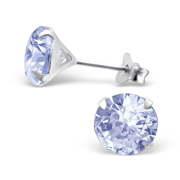 Cubic Zirconia (CZ) 925 Solid Sterling Silver Studs. 3mm, 6mm, 8mm. Clear, AB, Pink, Amethyst Or Garnet - bigigloo.co.uk  - 7
