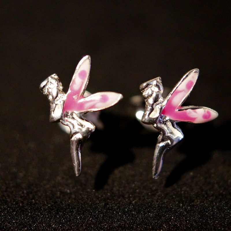 Solid Silver Pink Fairy 10mm Stud Earrings - bigigloo.co.uk