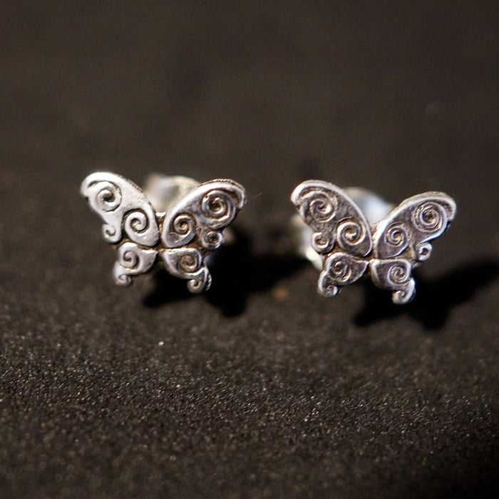 8mm Solid Silver Butterfly Stud Earrings - bigigloo.co.uk