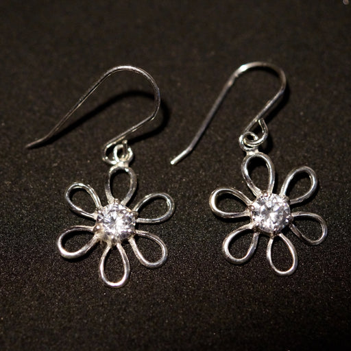 Stunning Solid Silver Flower Earrings With Faux Diamond (CZ) Centre - bigigloo.co.uk
