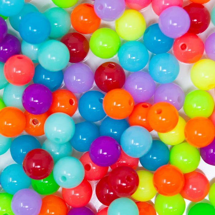 100 x Fluorescent Neon Round Acrylic Beads. 1.5mm Hole. Choice Of Sizes
