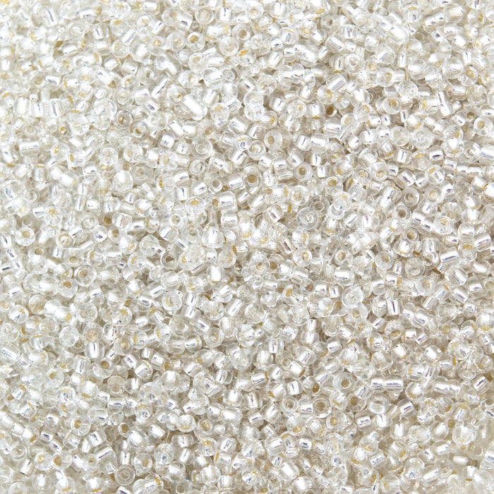 50g Silver Lined Seed Beads.11/0-2mm (Approx 3000 Beads) Or 8/0-3mm (App. 1500)