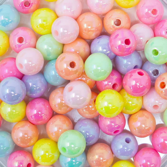 100 x AB Lustred Pastel Unicorn Colours Round Acrylic Beads. 1.5mm Hole