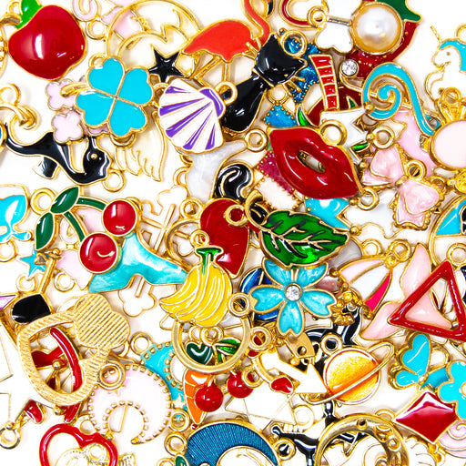 100 Assorted Alloy Gold Pendants in bright and cute designs- perfect for jewellery making. By Big Little Store, Cornwall.