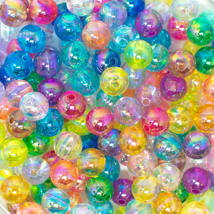 Transparent Round Acrylic AB Rainbow Lustre Beads. Choice Of Sizes