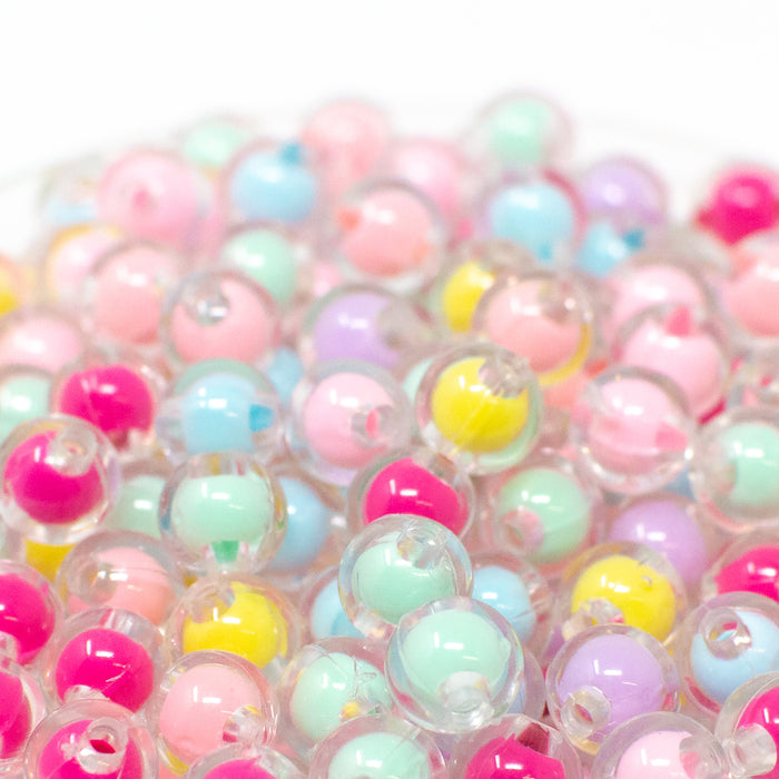 8mm Round Pastel Bead In Bead Acrylic Beads. Pack Of 100. 2mm Hole