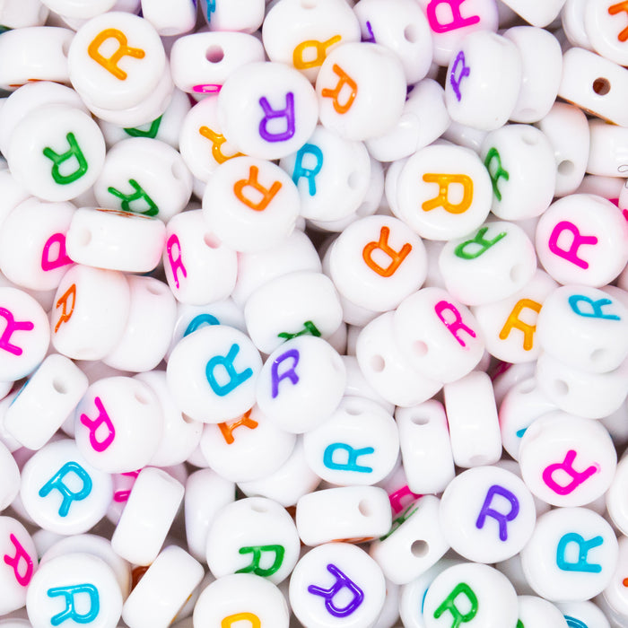 Pack Of 50 Round Individual Letter Alphabet Beads. 7x4mm. 1.2mm Hole.
