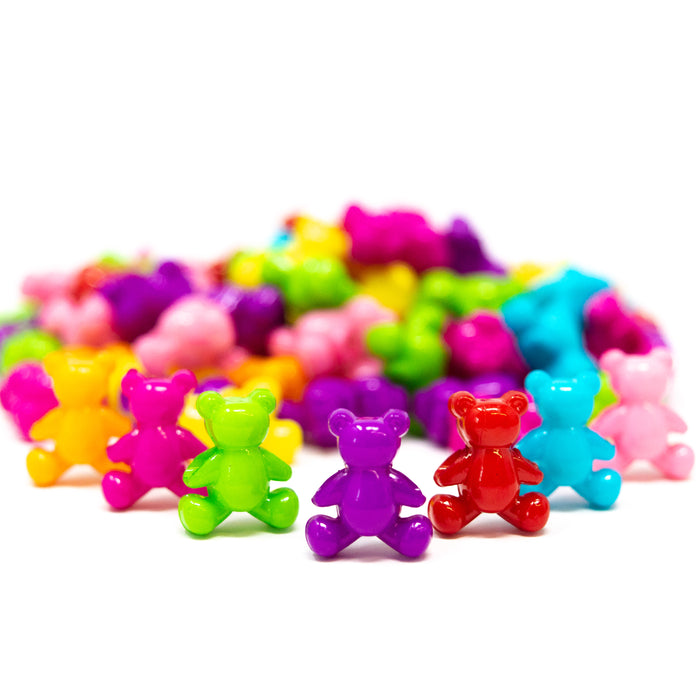 Acrylic Mixed Colour Teddy Bear Beads. 13.5x11.5x7.5mm, Hole: 2.5mm. Pack Of 50.