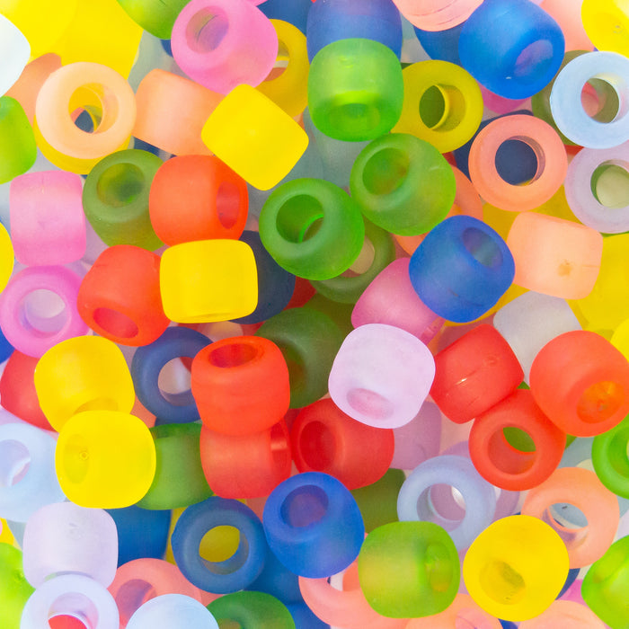 Pack Of Approx 150 Acrylic Pony Beads. Range Of Colour Assortments. 8x6mm. 4mm Hole