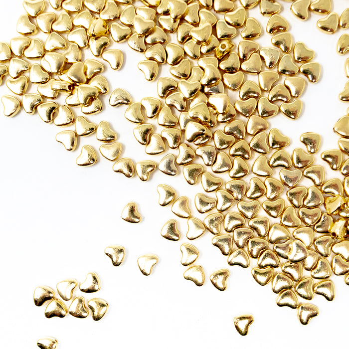 Polished Metal Heart Beads. Silver Or Gold Colour. 6x5x3mm. Pack Of 50. 1mm Hole