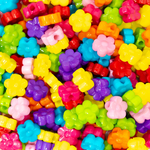 Opaque Acrylic Flower Beads in a variety of bold colours, including pink, purple, yellow, blue and green. Come in mixed bags of 100.