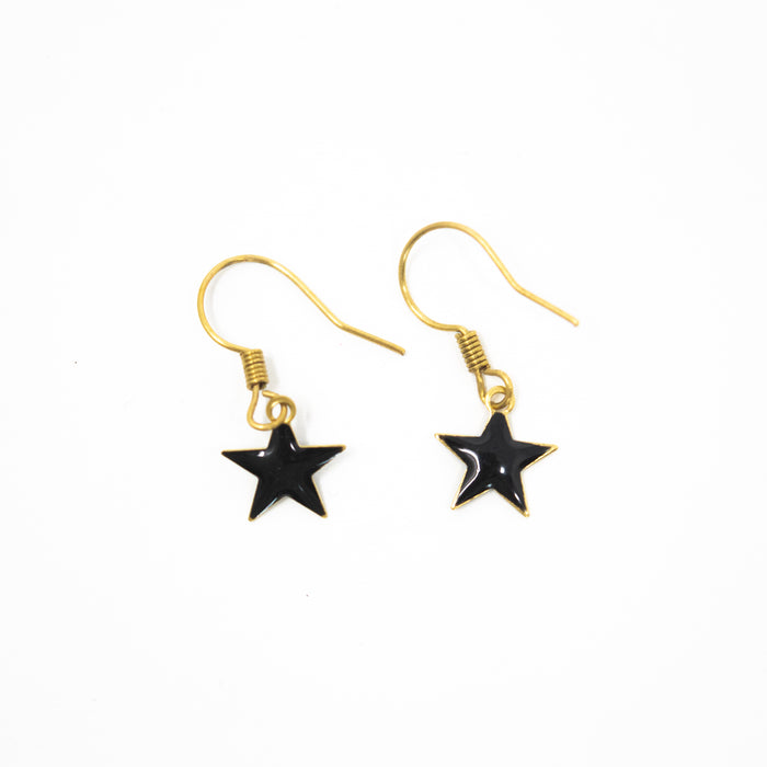 Bright Star Enamel Drop Earrings. Approx 10mm Double Sided Star. Brass Hooks.