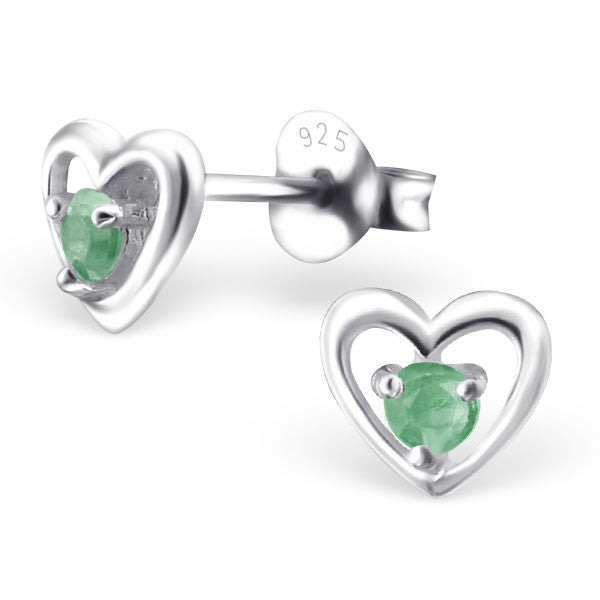 925 Solid Silver 6mm Heart Stud Earrings With Tiny Genuine (Lab Grown) Rubies, Sapphires Or Emeralds - bigigloo.co.uk  - 3