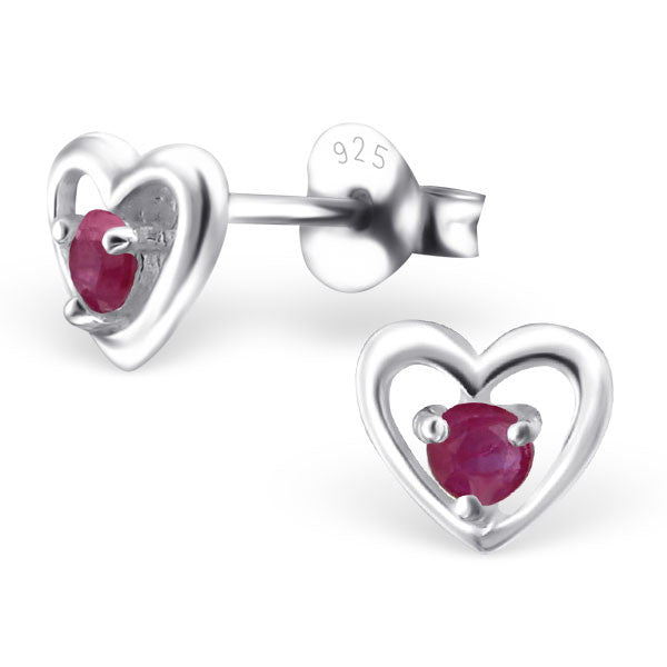 925 Solid Silver 6mm Heart Stud Earrings With Tiny Genuine (Lab Grown) Rubies, Sapphires Or Emeralds - bigigloo.co.uk  - 1