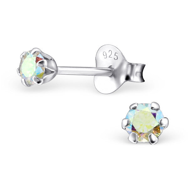 Cubic Zirconia (CZ) 925 Solid Sterling Silver Studs. 3mm, 6mm, 8mm. Clear, AB, Pink, Amethyst Or Garnet - bigigloo.co.uk  - 4