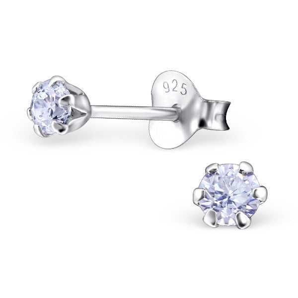 Cubic Zirconia (CZ) 925 Solid Sterling Silver Studs. 3mm, 6mm, 8mm. Clear, AB, Pink, Amethyst Or Garnet - bigigloo.co.uk  - 8