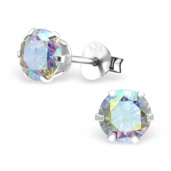 Cubic Zirconia (CZ) 925 Solid Sterling Silver Studs. 3mm, 6mm, 8mm. Clear, AB, Pink, Amethyst Or Garnet - bigigloo.co.uk  - 12