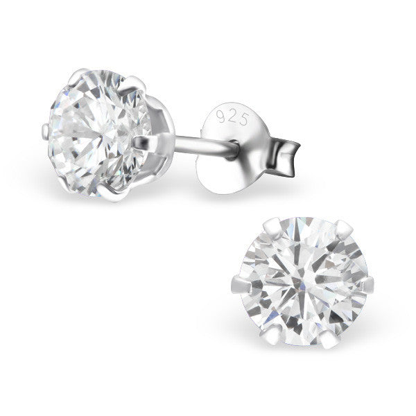 Cubic Zirconia (CZ) 925 Solid Sterling Silver Studs. 3mm, 6mm, 8mm. Clear, AB, Pink, Amethyst Or Garnet - bigigloo.co.uk  - 11