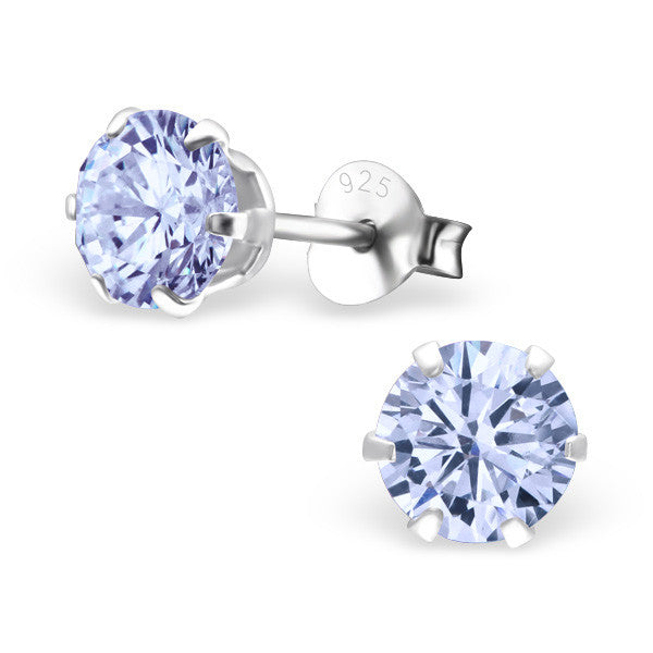 Cubic Zirconia (CZ) 925 Solid Sterling Silver Studs. 3mm, 6mm, 8mm. Clear, AB, Pink, Amethyst Or Garnet - bigigloo.co.uk  - 14