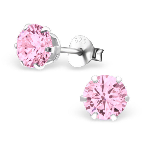 Cubic Zirconia (CZ) 925 Solid Sterling Silver Studs. 3mm, 6mm, 8mm. Clear, AB, Pink, Amethyst Or Garnet - bigigloo.co.uk  - 13