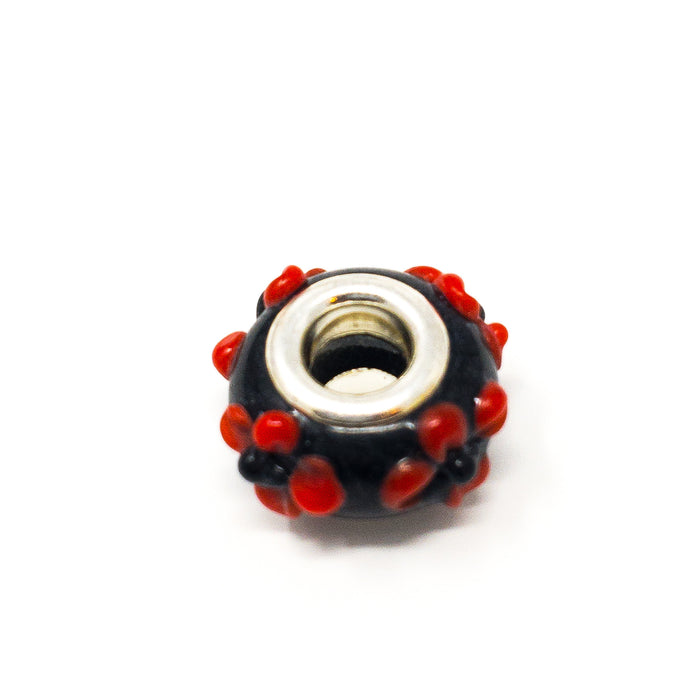 Charm Beads For Bracelets With Hand Painted Flowers. Green, Blue, Pink, Red, Blue, Black, Yellow