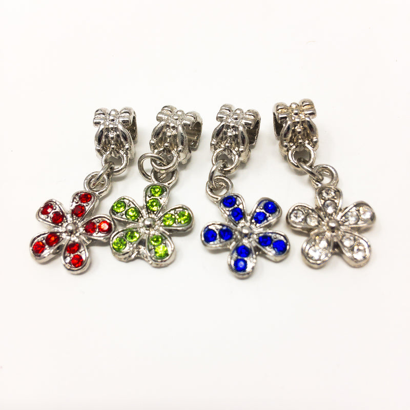 Dangly Flower Bracelet Bead Charms With Tiny Crystals In White, Blue, Red Or Gre