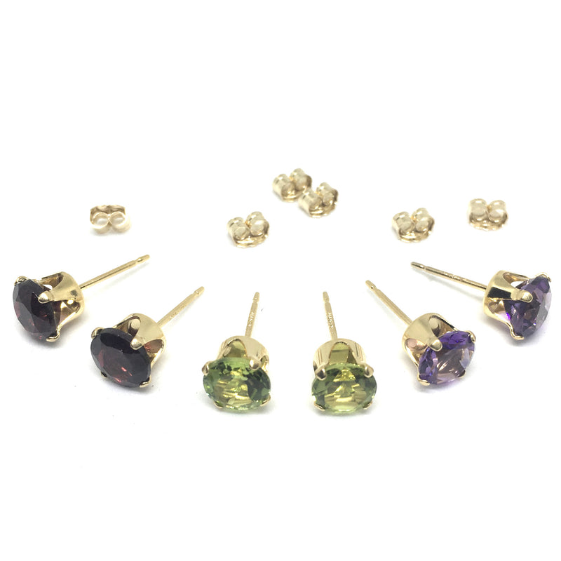 6mm Precious Stone Stud 14K Gold Filled Earrings. Amethyst, Garnet Or Peridot.
