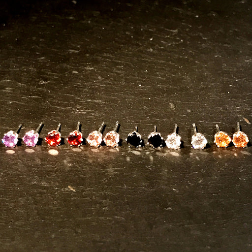 5mm Silver Plated CZ Studs White, Red, Yellow, Purple, Black, Pink - bigigloo.co.uk  - 1