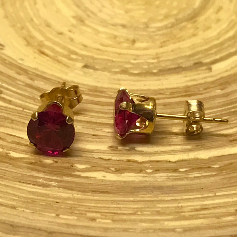 Genuine Created 6mm Ruby Or Sapphire Stud Earrings With 925 Silver Or Gold Filled Settings - bigigloo.co.uk  - 3