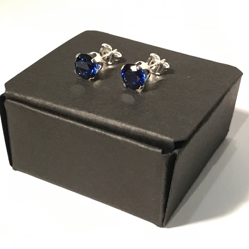 Genuine Created 6mm Ruby Or Sapphire Stud Earrings With 925 Silver Or Gold Filled Settings - bigigloo.co.uk  - 1