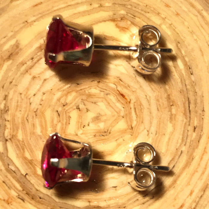 Genuine Created 6mm Ruby Or Sapphire Stud Earrings With 925 Silver Or Gold Filled Settings - bigigloo.co.uk  - 2