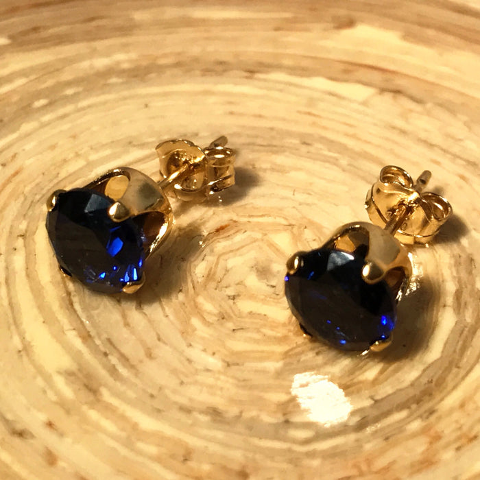 Genuine Created 6mm Ruby Or Sapphire Stud Earrings With 925 Silver Or Gold Filled Settings - bigigloo.co.uk  - 5