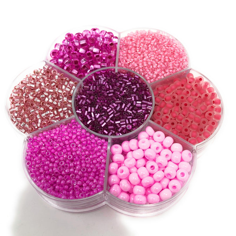 Preciosa Flower Shaped Czech Seed Bead Selection Box. 9 Colours.