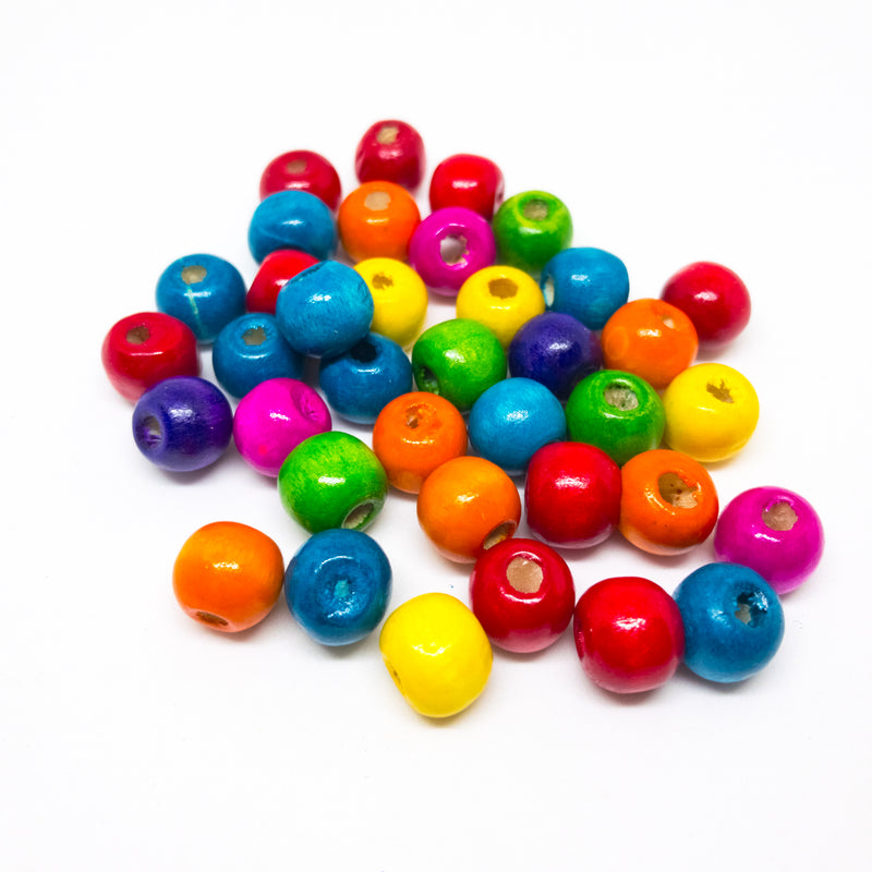 Wooden Beads Painted In Bright Colours. Pack Of 100. Ideal For Kids Or Big Kids