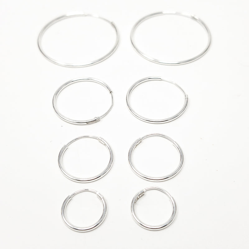 "Solid 925 Sterling Silver ""Endless Hoop"" Sleeper Earrings. 12mm 16mm 20mm 30mm"