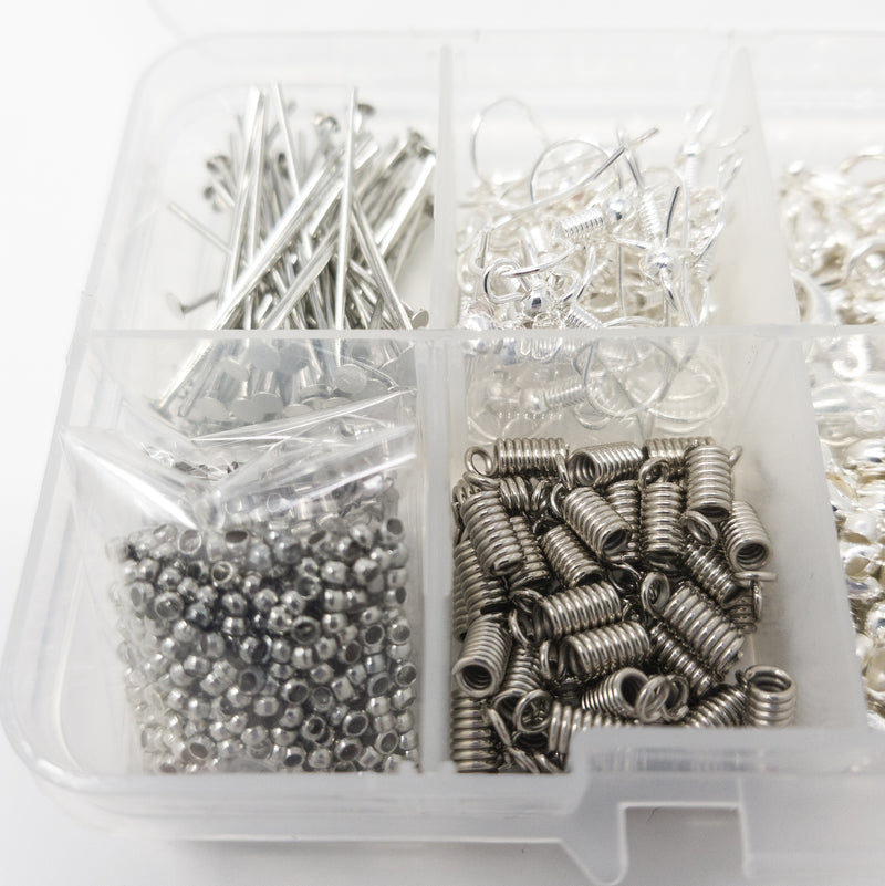 Findings Kit. App. 1700 Items. Stringing, Jump Rings, Crimps, Clasps