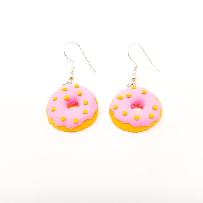 Cute Handmade Kawaii Food Fimo Drop Earrings With Silver Plated Hooks.