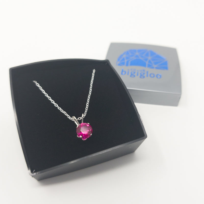 Genuine Created 6mm Ruby Or Sapphire On 925 Solid Silver Pendant Necklace