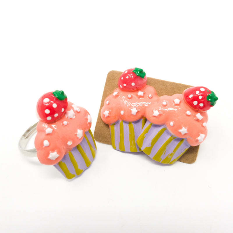 Cute Handmade Kawaii Food Stud Earrings And Adjustable Finger Rings. Various Designs.