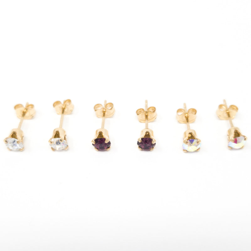 4mm Genuine Swarovski® Crystal & Gold Filled Stud Earrings