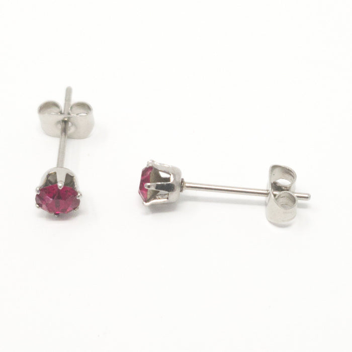 4mm Stainless Steel Stud Earrings. Genuine Xirius Crystals By Swarovski. Boxed.