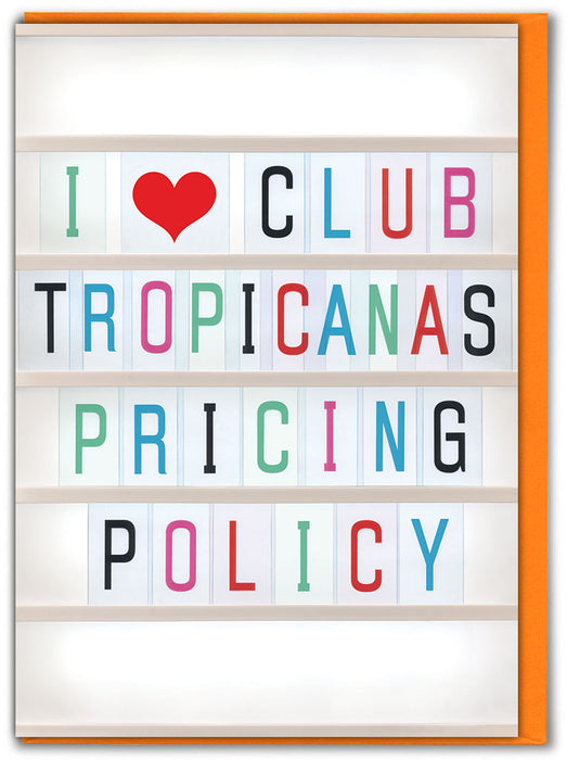Club Tropicana's Pricing Policy Greetings Card