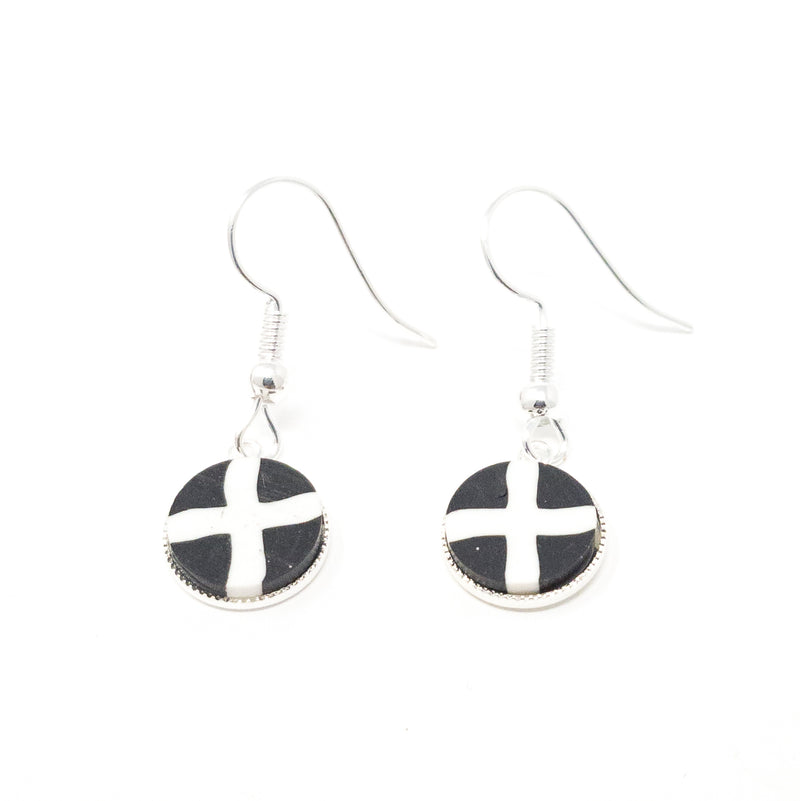 St Pirans Cornish Flag  Silver Plated Dangle Earrings.  Gift Boxed