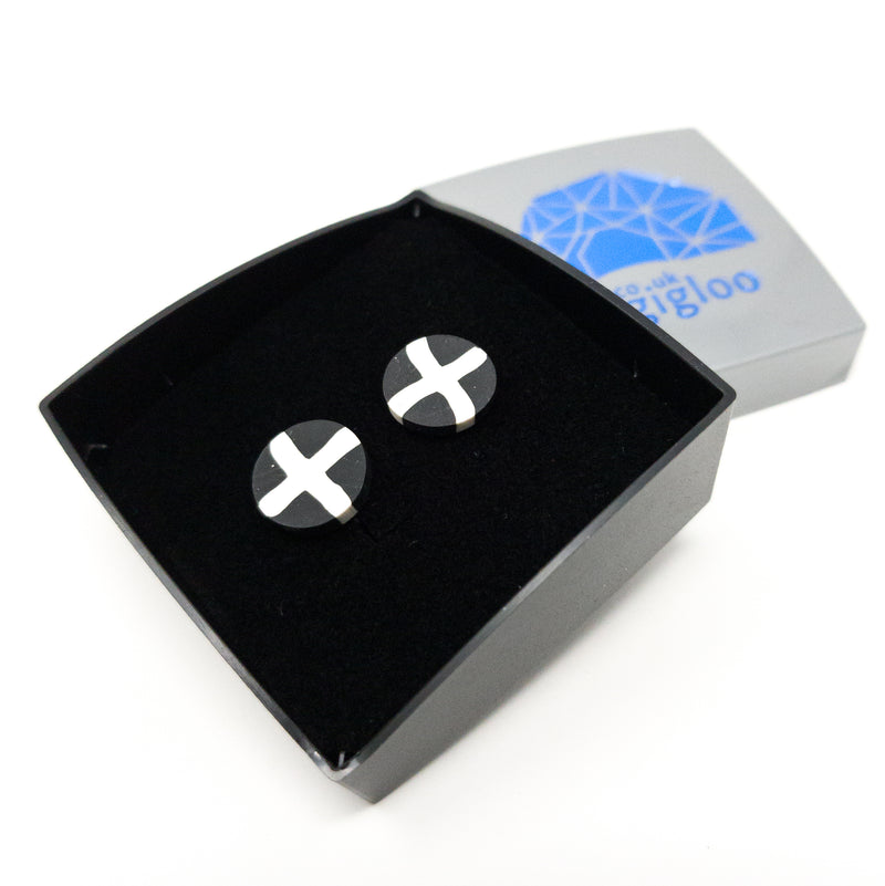 St Piran's Cornish Flag Silver Plated Or Solid 925 Silver Stud Earrings